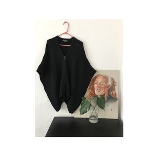 Vince Cable-Knit Zippered Poncho